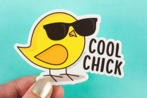 "Funny Vinyl Sticker ""Cool Chick""-Vinyl Sticker-TinyBeeCards"