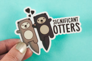 "Otters Vinyl Sticker ""Significant Otters"" - otters holding hands, cute vinyl decal, gift for boyfriend girlfriend husband or wife, sea life"