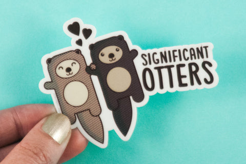 "Otters Vinyl Sticker ""Significant Otters""-Vinyl Sticker-TinyBeeCards"