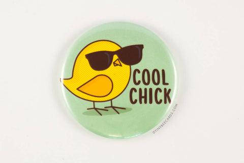 Cool Chick Magnet, Pin, or Pocket Mirror-Button-TinyBeeCards