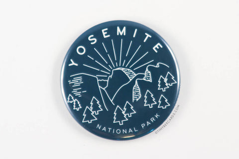 Yosemite National Park Magnet, Pin, or Pocket Mirror - national parks pin, yosemite badge, outdoorsy gifts, nature gifts, half dome pin