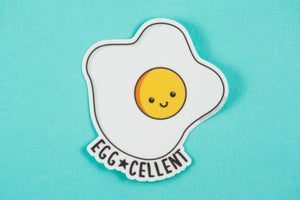 "Fried Egg Vinyl Decal ""Egg-cellent!"" - kawaii egg, funny vinyl sticker, foodie sticker, pun stickers, cute fried egg, laptop sticker"