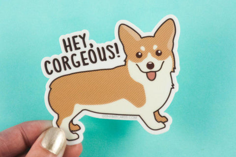 "Funny Corgi Vinyl Sticker ""Hey Corgeous!"" - cute corgi sticker, vinyl decal, animal pun stickers, gift for friend, dog lover gift"