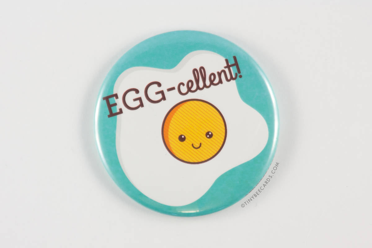 "Funny Fried Egg Magnet, Pin, or Pocket Mirror ""EGG-cellent!""-Button-TinyBeeCards"