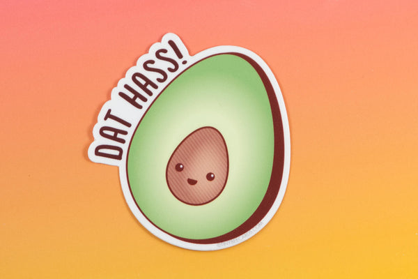 "Avocado Vinyl Sticker Pun ""Dat Hass!""-Vinyl Sticker-TinyBeeCards"