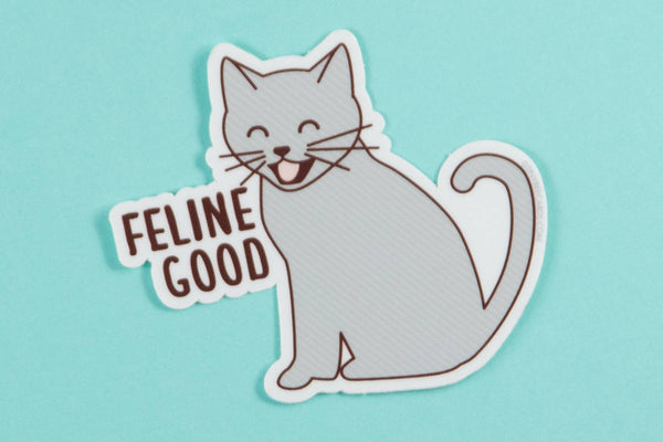 "Funny Cat Vinyl Sticker ""Feline Good"" - cat lover sticker, funny cat puns, cute cat laptop sticker, cat lover gifts, bike or laptop decal"