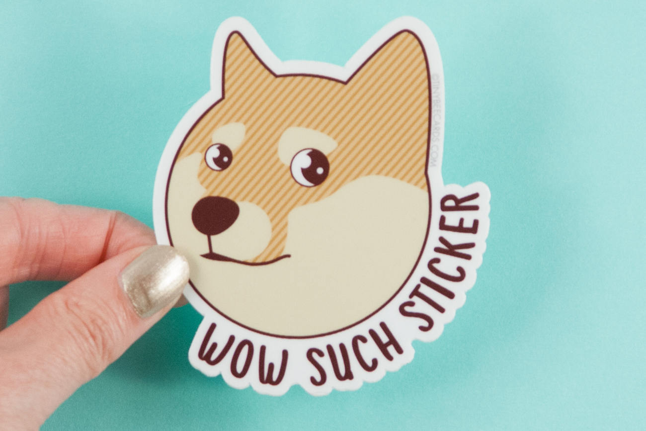 "Doge Vinyl Sticker ""Wow Such Sticker"" - funny doge meme sticker, doge laptop sticker, shiba inu meme, dog lover gift, shiba inu owner gift"
