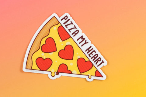 "Pizza Vinyl Sticker ""Pizza My Heart""-Vinyl Sticker-TinyBeeCards"