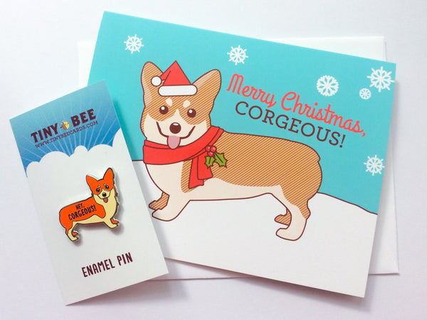 "Corgi Enamel Pin & Christmas Card Bundle ""Hey Corgeous!""- cute Christmas gift for wife, husband, boyfriend, girlfriend, or significant other"