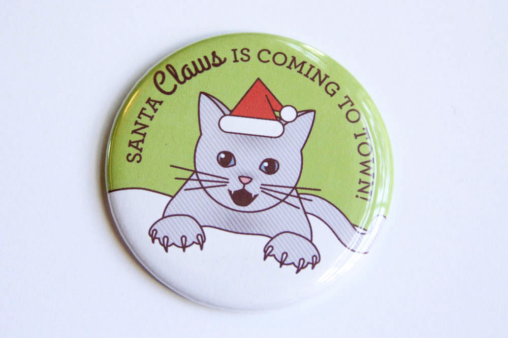 "Christmas Cat Paw Magnet, Pin, or Mirror ""Santa Claws"" - cat holiday gift, stocking stuffer, funny magnet or pinback button, cat lover gift"