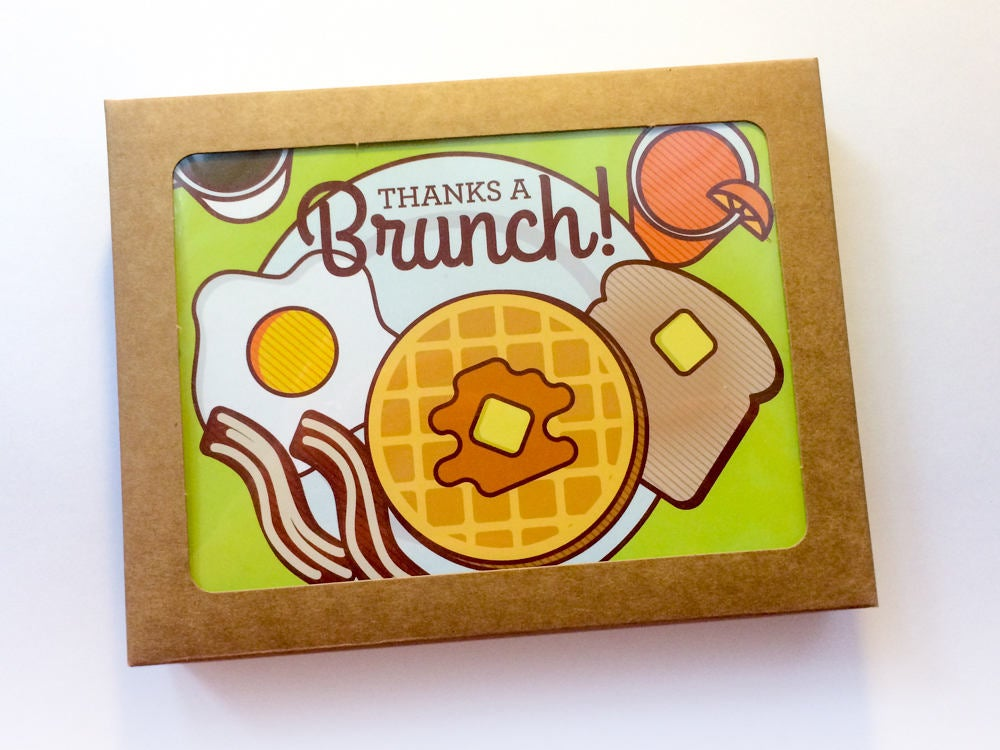 "Boxed Set of 6 Thank You Cards ""Thanks a Brunch!"""