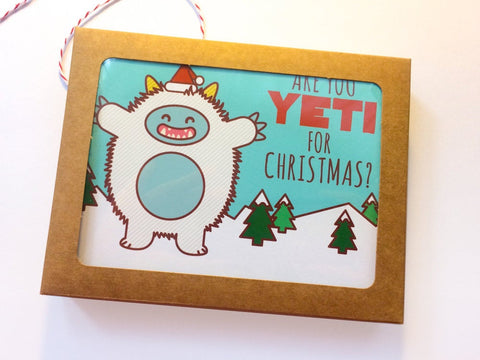 "Boxed Set of 6 Yeti Holiday Cards ""Are You Yeti for Christmas?"""
