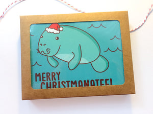 "Boxed Set of 8 Holiday Cards - ""Merry Christmanatee!"" - boxed Christmas cards, boxed card set, holiday card set, cute manatee christmas card"