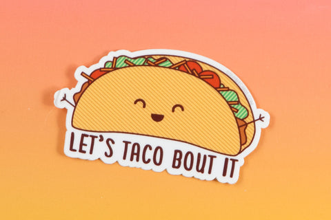 "Taco Pun Vinyl Sticker ""Taco Bout It!"" - funny decal, foodie sticker, Mexican food sticker, kawaii taco sticker, laptop sticker, food art"