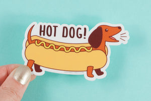 "Dachshund Vinyl Sticker Pun ""Hot Dog!"" - funny dog lover sticker, punny sticker, dishwasher safe, funny decals, doxie sticker, hot dog gifts"