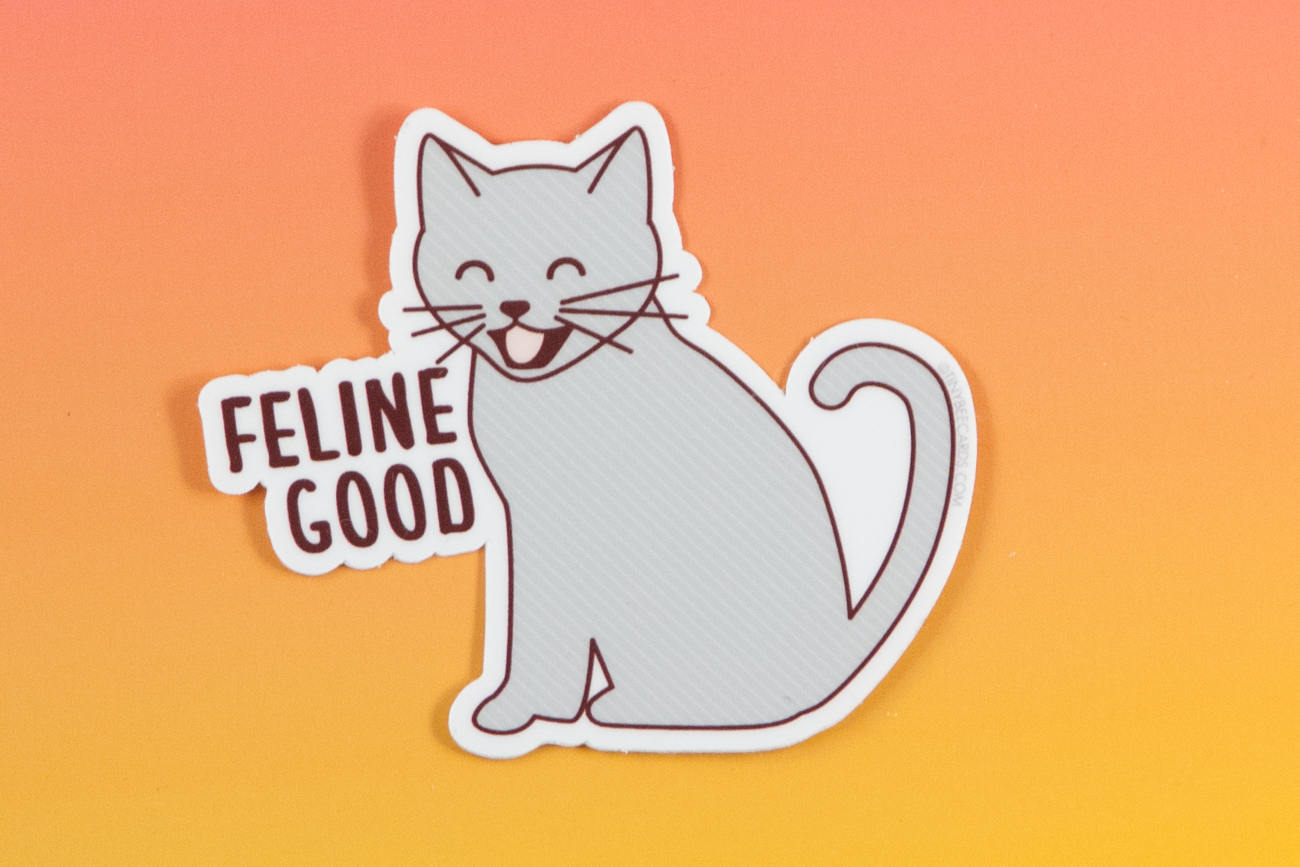 "Funny Cat Vinyl Sticker ""Feline Good""-Vinyl Sticker-TinyBeeCards"
