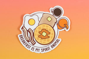 "Breakfast Vinyl Sticker ""Breakfast is my Spirit Animal"" - Waffles coffee eggs bacon sticker, funny brunch sticker, foodie gifts, small gift"