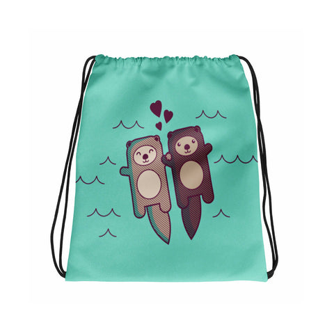 Cute Otters Tote or Drawstring Bag - animal tote, market bag, cute tote bag, otter gifts, girlfriend or wife gift, significant otter tote