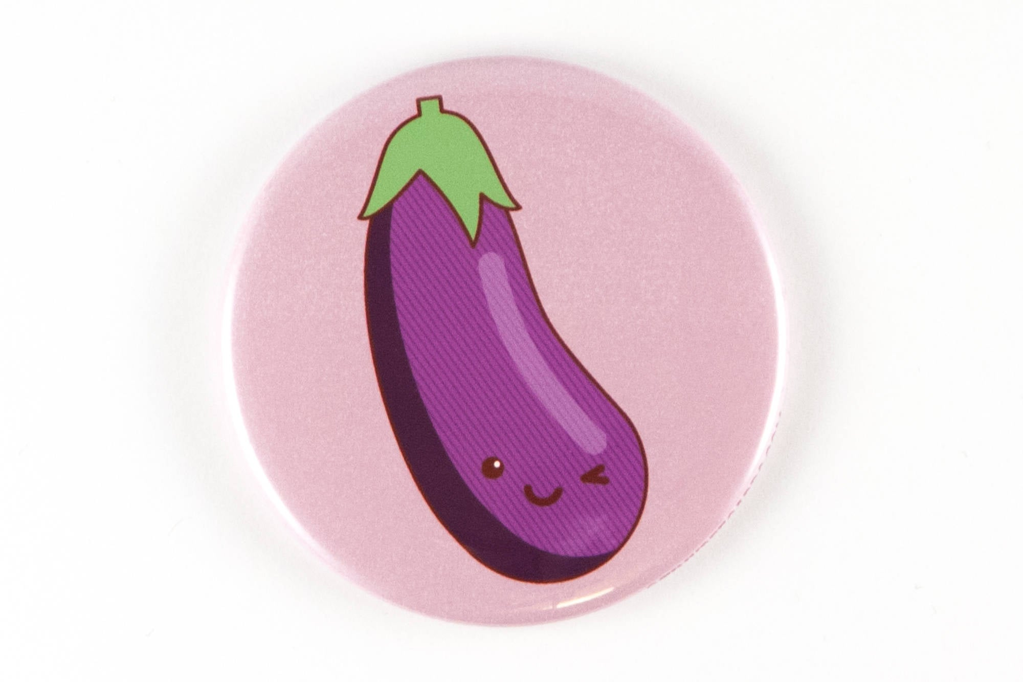 Funny Eggplant Emoji Magnet, Pinback Button, or Pocket Mirror - winking kawaii eggplant, rude adult gifts, sexy valentine's day gift