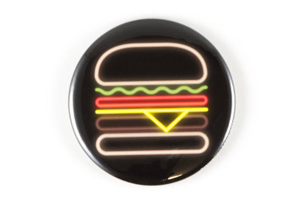 Burger Lover Magnet, Pinback Button, or Pocket Mirror - neon burger sign, burger lover badge, fridge magnet, foodie gifts, small gifts