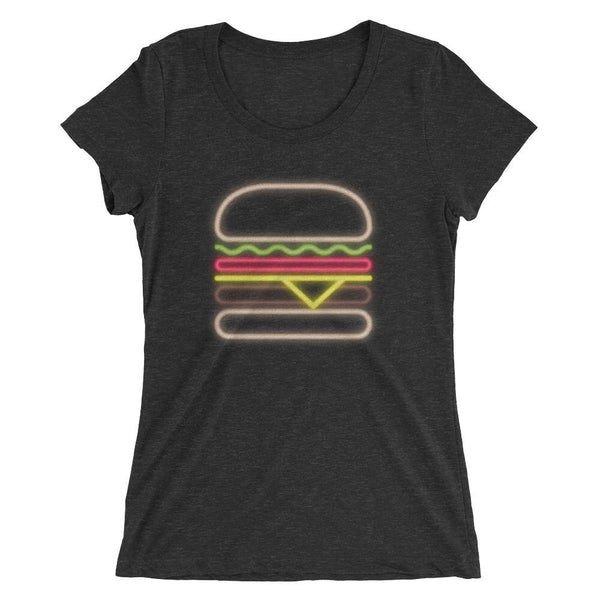 Neon Burger Triblend Tee - foodie t-shirt, food lover gift, burger gifts, graphic design tee, cheeseburger t-shirt, fast food, neon sign tee