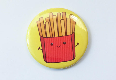 Cute Kawaii Fries Magnet, Pin, or Pocket Mirror - foodie gifts, stocking stuffer, French fries gift, food lover gifts, fries button magnet
