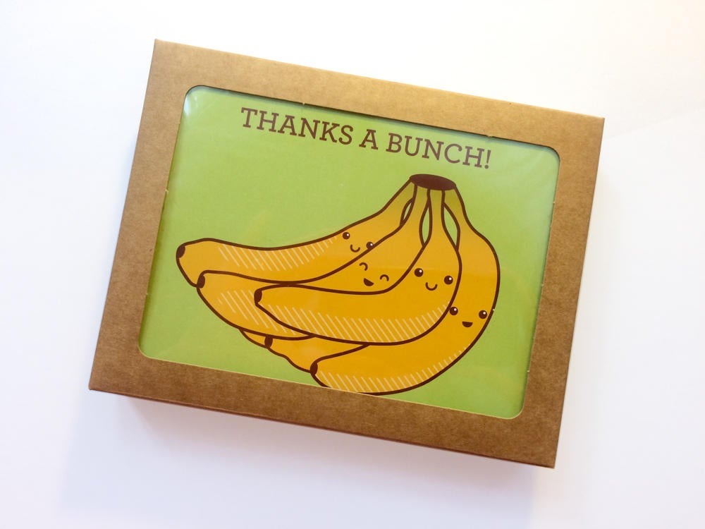 "Boxed Set of 6 Bananas Thank You Cards ""Thanks A Bunch!"""