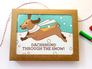 "Boxed Set of 6 Holiday Cards ""Dachshund Through the Snow!""-Bundles & Sets-TinyBeeCards"