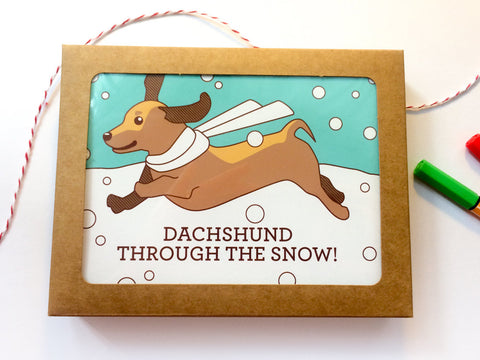 "Boxed Set of 8 Holiday Cards - ""Dachshund Through the Snow!"" - boxed Christmas cards, boxed card set, holiday card set, doxie christmas card"