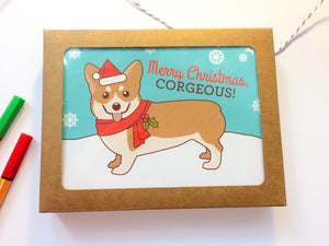 "Boxed Set of 6 Corgi Holiday Cards ""Merry Christmas, Corgeous"""
