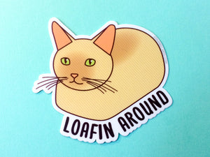 "Cat Vinyl Sticker ""Loafin Around""-Vinyl Sticker-TinyBeeCards"