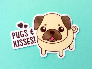 "Pug Vinyl Sticker ""Pugs & Kisses"" - cute pug gift, pug lover gift, pug owner, dog vinyl sticker, sticker slaps, animal pun stickers, large"