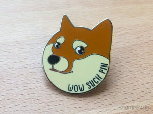 "Doge Enamel Pin ""Wow Such Pin"" - shiba inu gift, funny lapel pin, shiba inu lovers, cute funny flair, dog lover gift, doge internet meme"