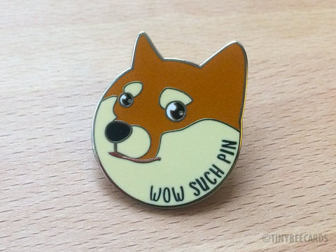 "Doge Enamel Pin ""Wow Such Pin""-Enamel Pin-TinyBeeCards"