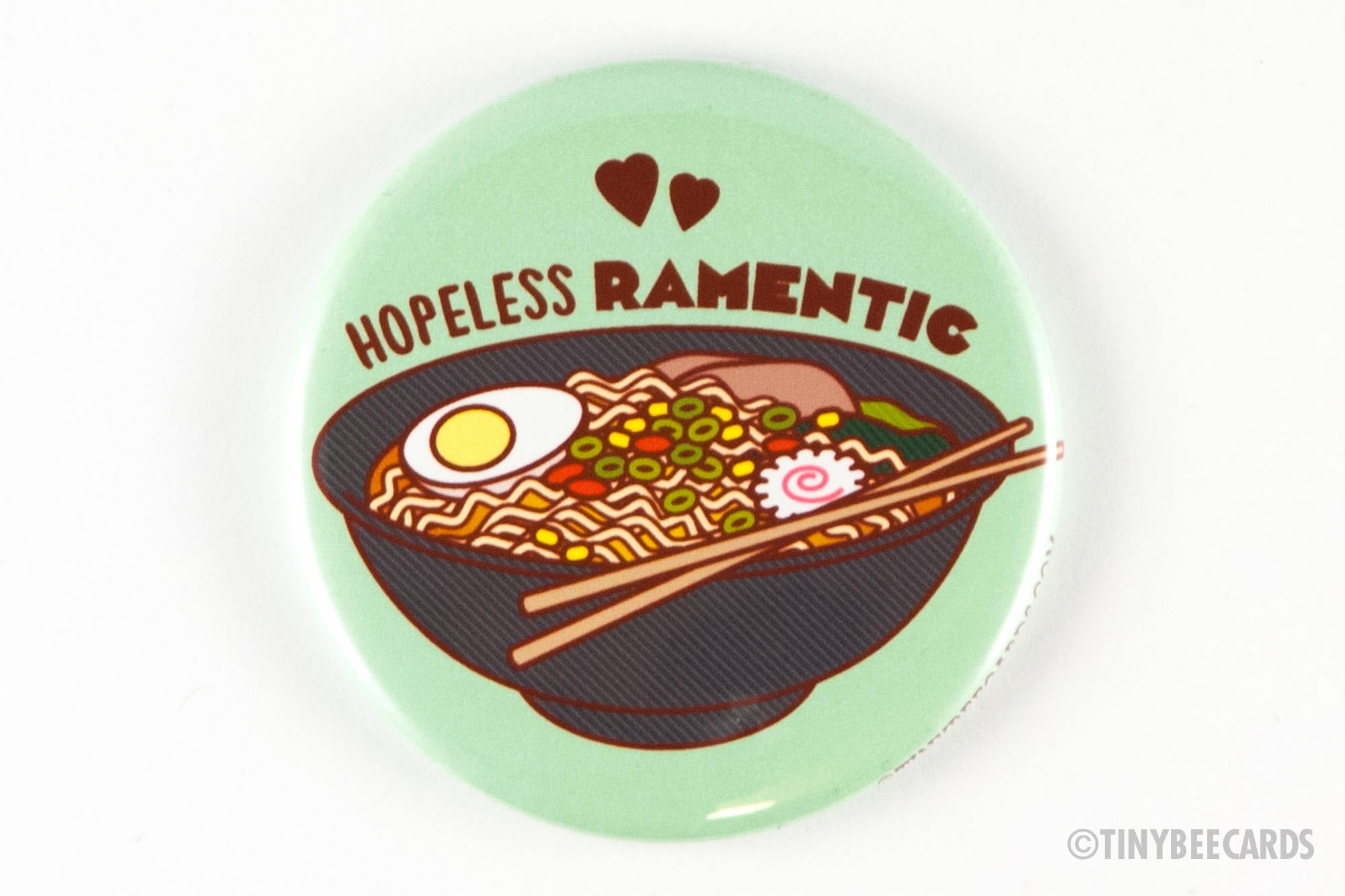 "Funny Ramen Lover Magnet, Pinback Button, or Pocket Mirror ""Hopeless Ramentic"" - funny button, Japanese food, foodie gifts, ramen gift"