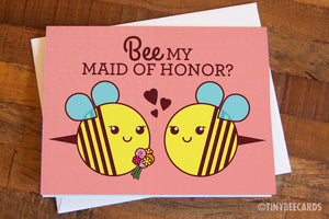 Cute Bee Bridesmaid or Maid of Honor Card - Will you be my bridesmaid card, wedding card, bridal party card, bee pun bridesmaid proposal