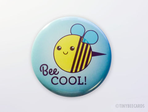 "Funny Bee Magnet, Pinback Button, or Pocket Mirror ""Bee Cool!""-Button-TinyBeeCards"