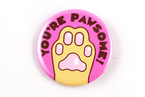 "Funny Cat Paw Magnet, Pin, or Pocket Mirror ""You're Pawsome!""-Button-TinyBeeCards"