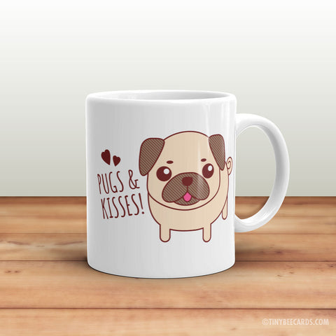 "Funny Pug Mug ""Pugs & Kisses"" - Pug gifts, funny coffee mug, gift for pug owner, funny puns, dog lovers, cute mug, quotes and sayings mug"