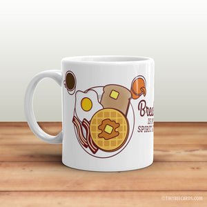 "Breakfast Mug ""This Is My Breakfast Mug"" OR ""Breakfast Is My Spirit Animal"" - Bacon, waffles, toast, coffee, breakfast foods lover gift."