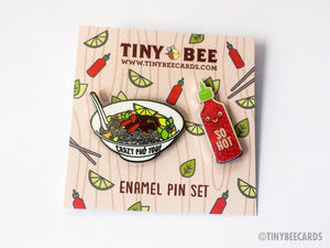 "Pho & Sriracha Hard Enamel Pin Duo ""Crazy Pho You"" and ""So Hot"" Pins - foodie pins, vietnamese food, enamel pin set, two pins set, pin flair"