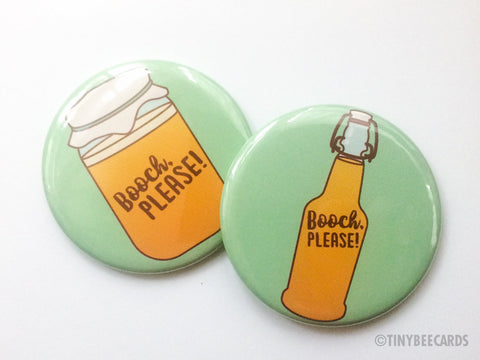 "Kombucha Magnet, Pin, or Pocket Mirror ""Booch, Please!""-Button-TinyBeeCards"