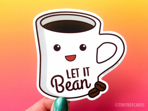 "Coffee Vinyl Sticker ""Let It Bean"" - coffee gifts, coffee lover gift, for him or her, laptop or water bottle sticker, cute kawaii coffee mug"
