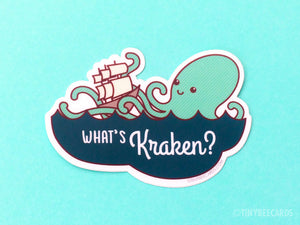 "Kraken Vinyl Sticker ""What's Kraken?""-Vinyl Sticker-TinyBeeCards"