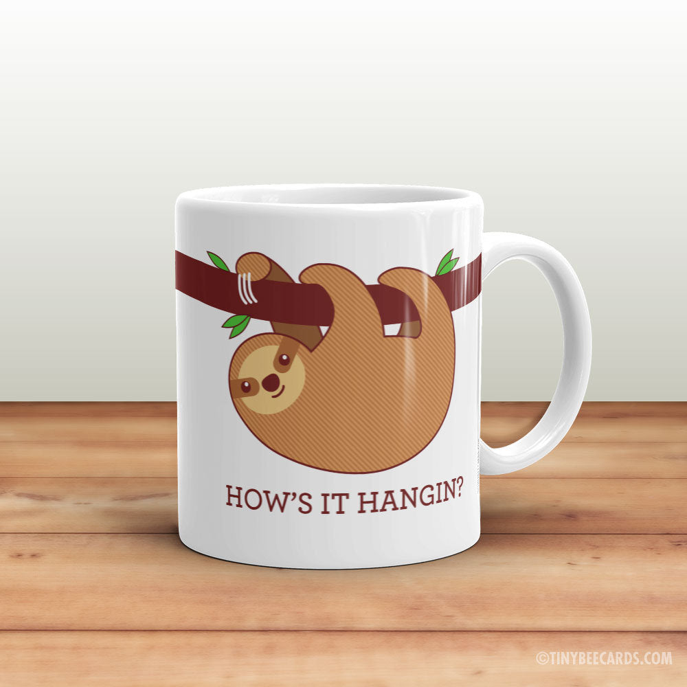 "Funny Sloth Mug ""How's It Hangin?""-Mug-TinyBeeCards"