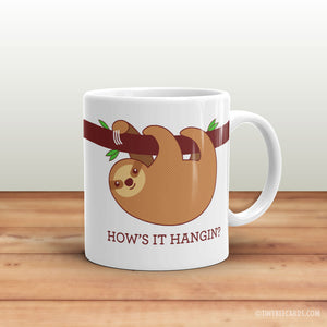 "Funny Sloth Mug ""How's It Hangin?"" - funny coffee mug gift, funny puns, gift for friend, office gift, cute coffee mugs, sloth lover gifts"