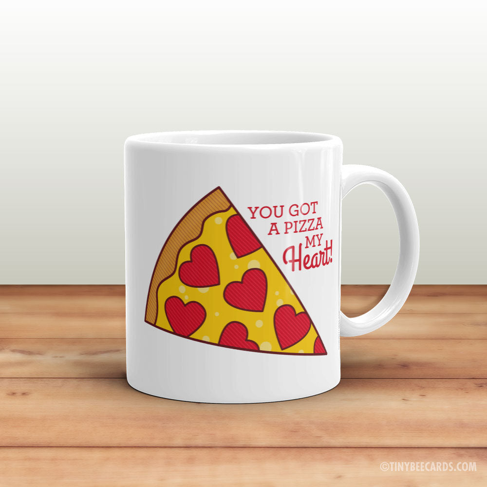 "Funny Pizza Mug ""Pizza My Heart"" - pizza lover gift, pizza mug, typography mugs, mug sayings, valentines gift for boyfriend girlfriend"