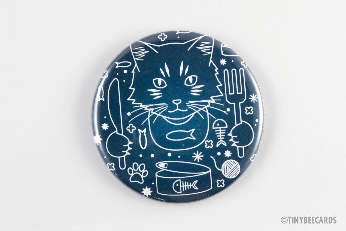"Cute Cat Magnet, Pinback Button, or Pocket Mirror ""Celestial Cat's Breakfast"" - cat pin, space cat, cat fridge magnet, cat lover gift"