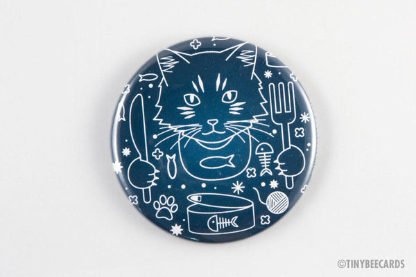 "Cute Cat Magnet, Pinback Button, or Pocket Mirror ""Celestial Cat's Breakfast""-Button-TinyBeeCards"