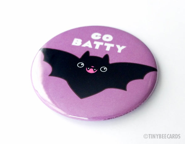 "Cute Bat Magnet, Pin, or Pocket Mirror ""Go Batty""-Button-TinyBeeCards"